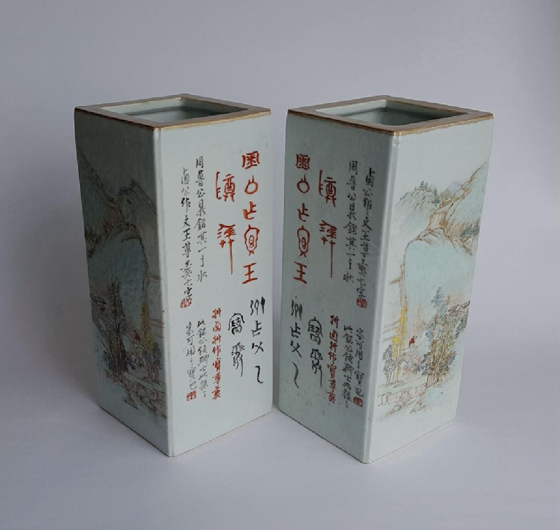 Pair Chinese Qiangjiangcai Color Porcelain Vases - 4