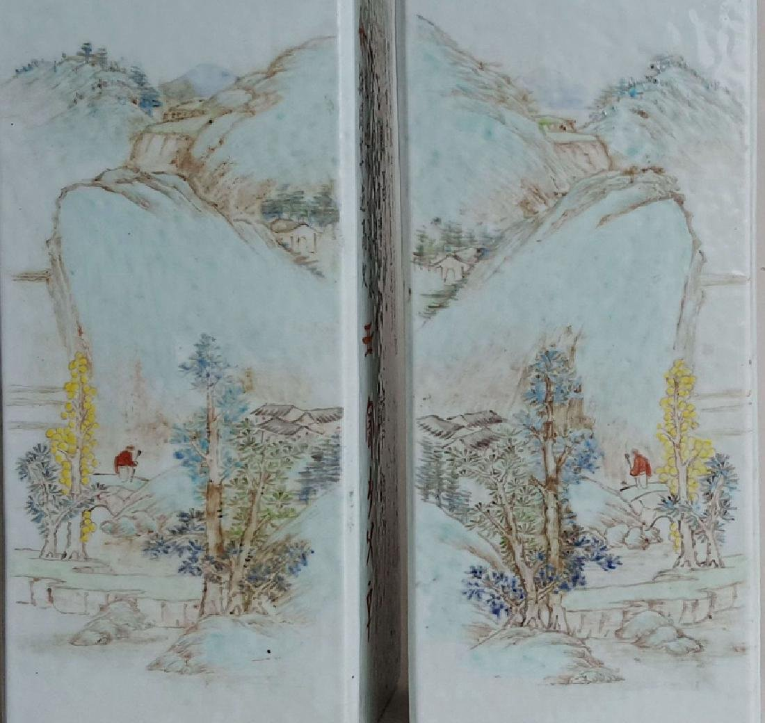 Pair Chinese Qiangjiangcai Color Porcelain Vases - 5