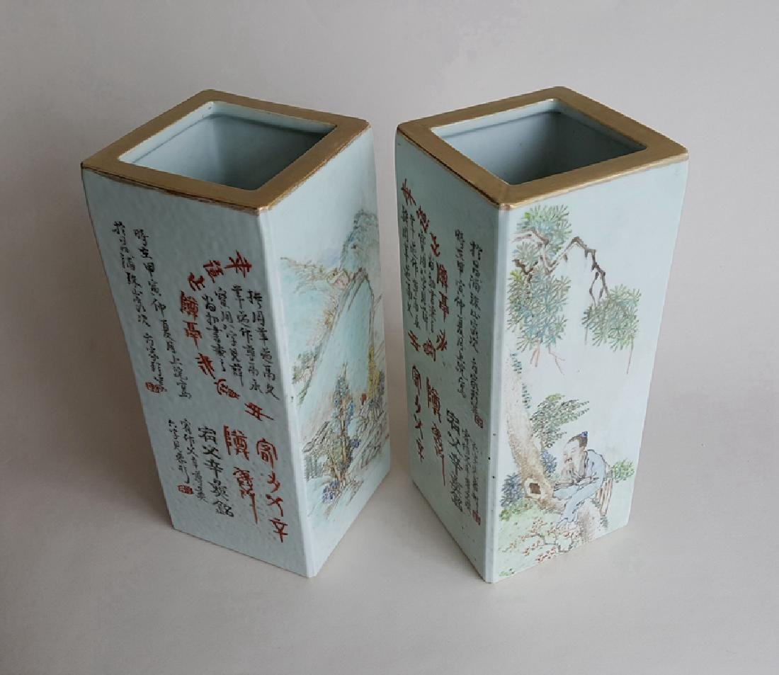 Pair Chinese Qiangjiangcai Color Porcelain Vases - 9