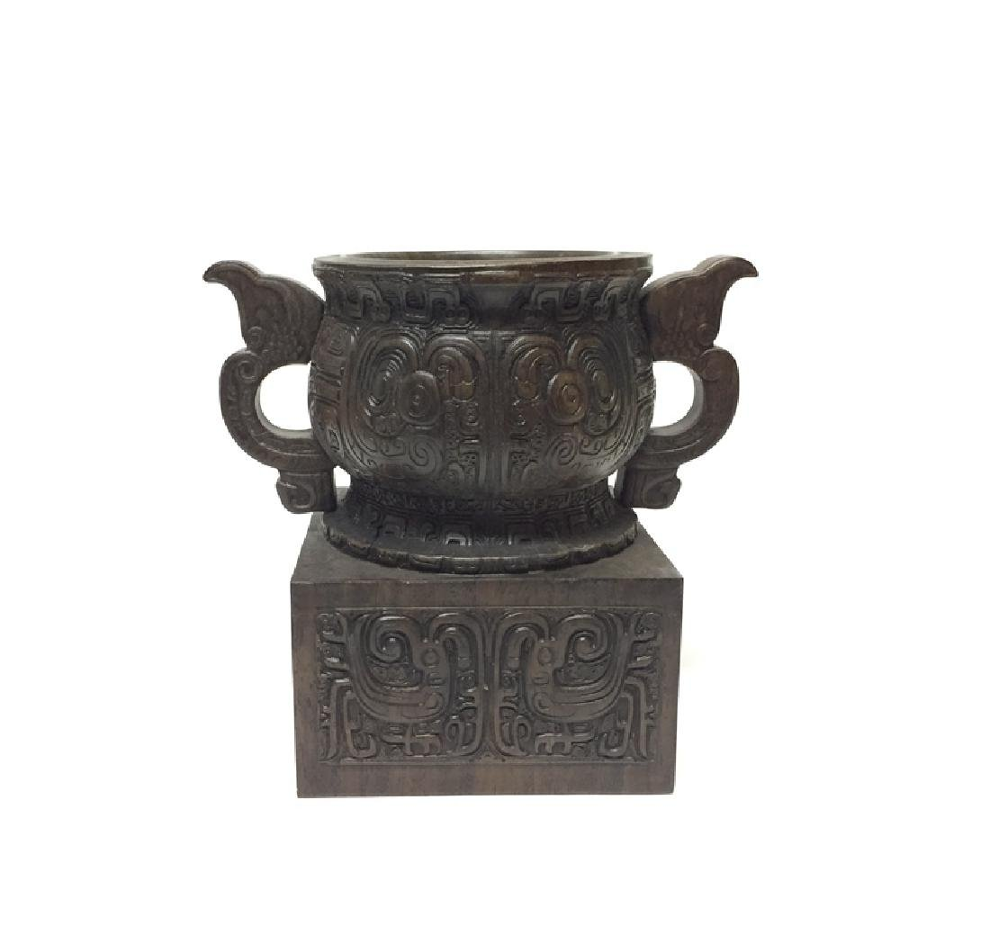 Chinese Carved Wooden Censer