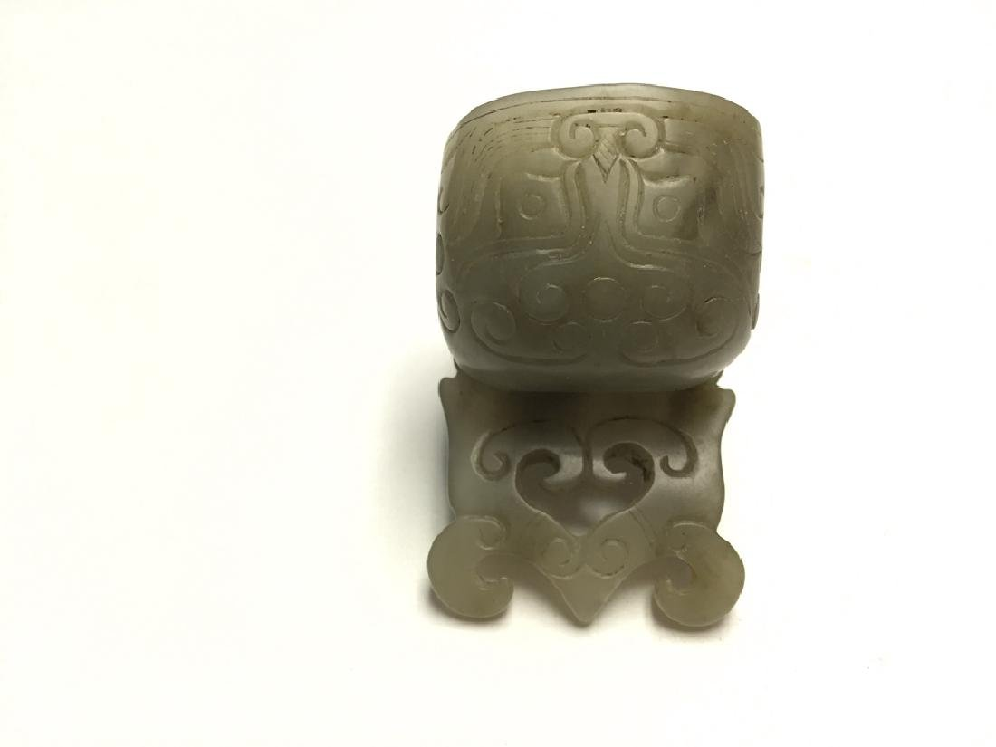 Chinese Carved Jade Hair Pin - 5