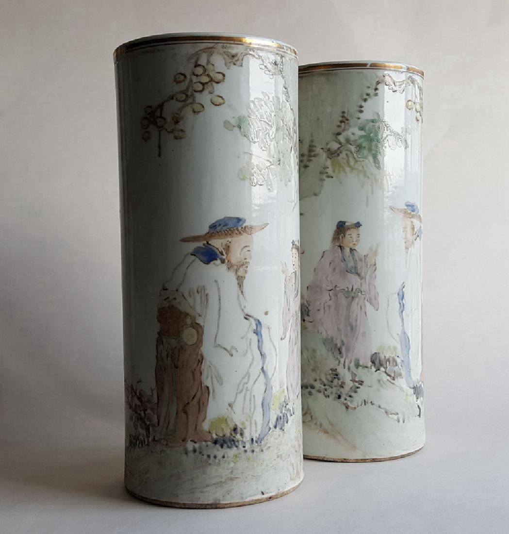 Pair Chinese Qiangjiang Color Porcelain Vases,Qing - 10