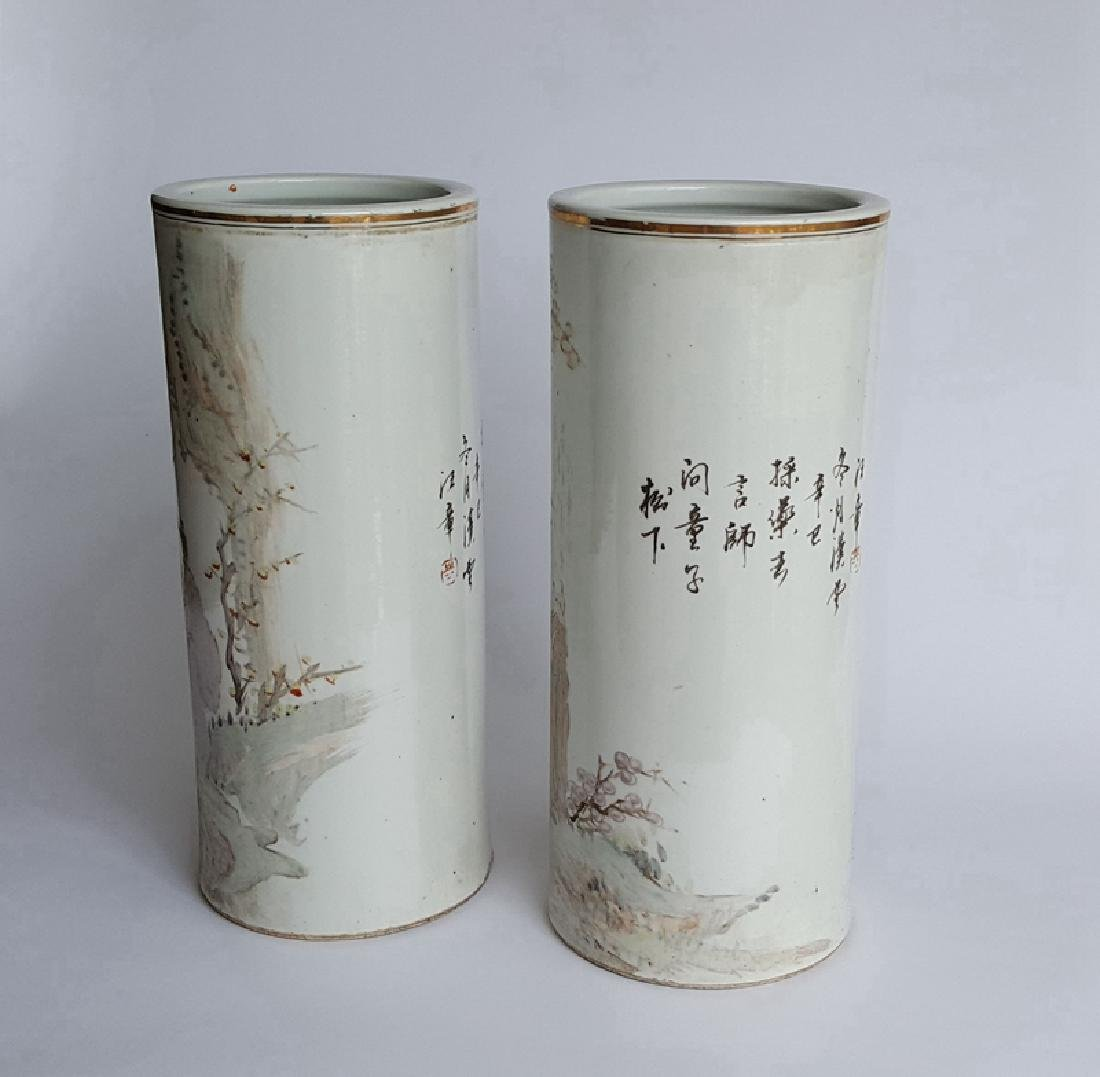 Pair Chinese Qiangjiang Color Porcelain Vases,Qing - 5