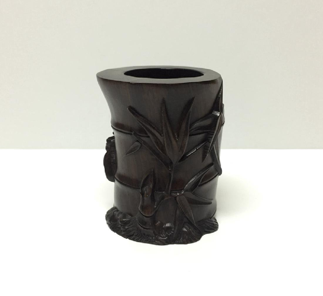 Chinese Carved Wooden Brush Pot