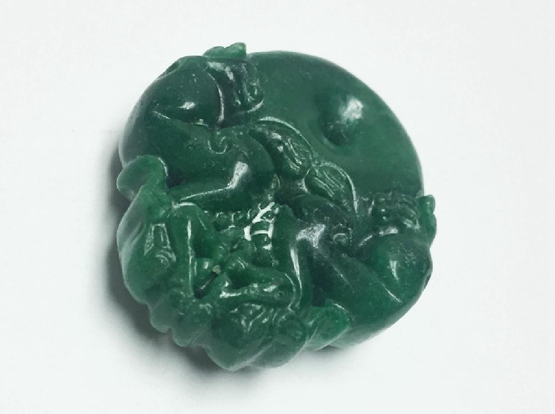 Chinese Carved Jadeite Pendant - 2