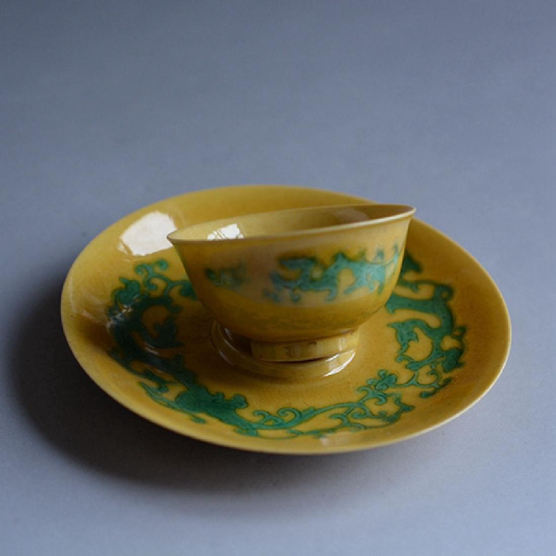Chinese Yellow Glaze Porcelain Cup And Dish
