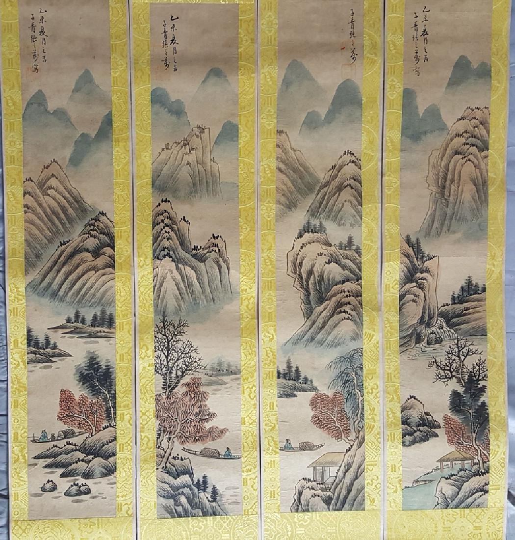 A set of Chinese Painting Scrolls ,Zhang