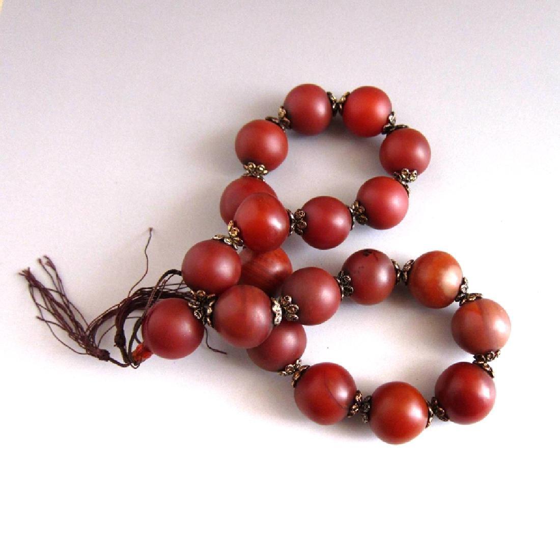 An Old Tibetan Agate Beads Buddha Bracelet