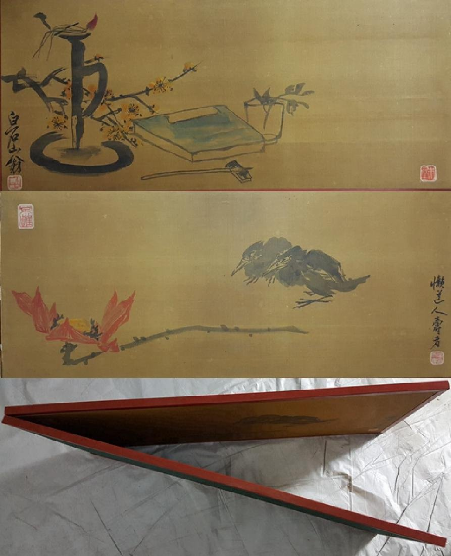 Chinese painting screen,Qi Baishi and Pan Tianshou