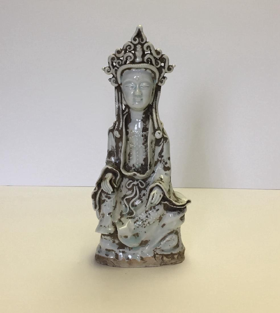 Chinese Carved Porcelain Qingbai Buddah Statue