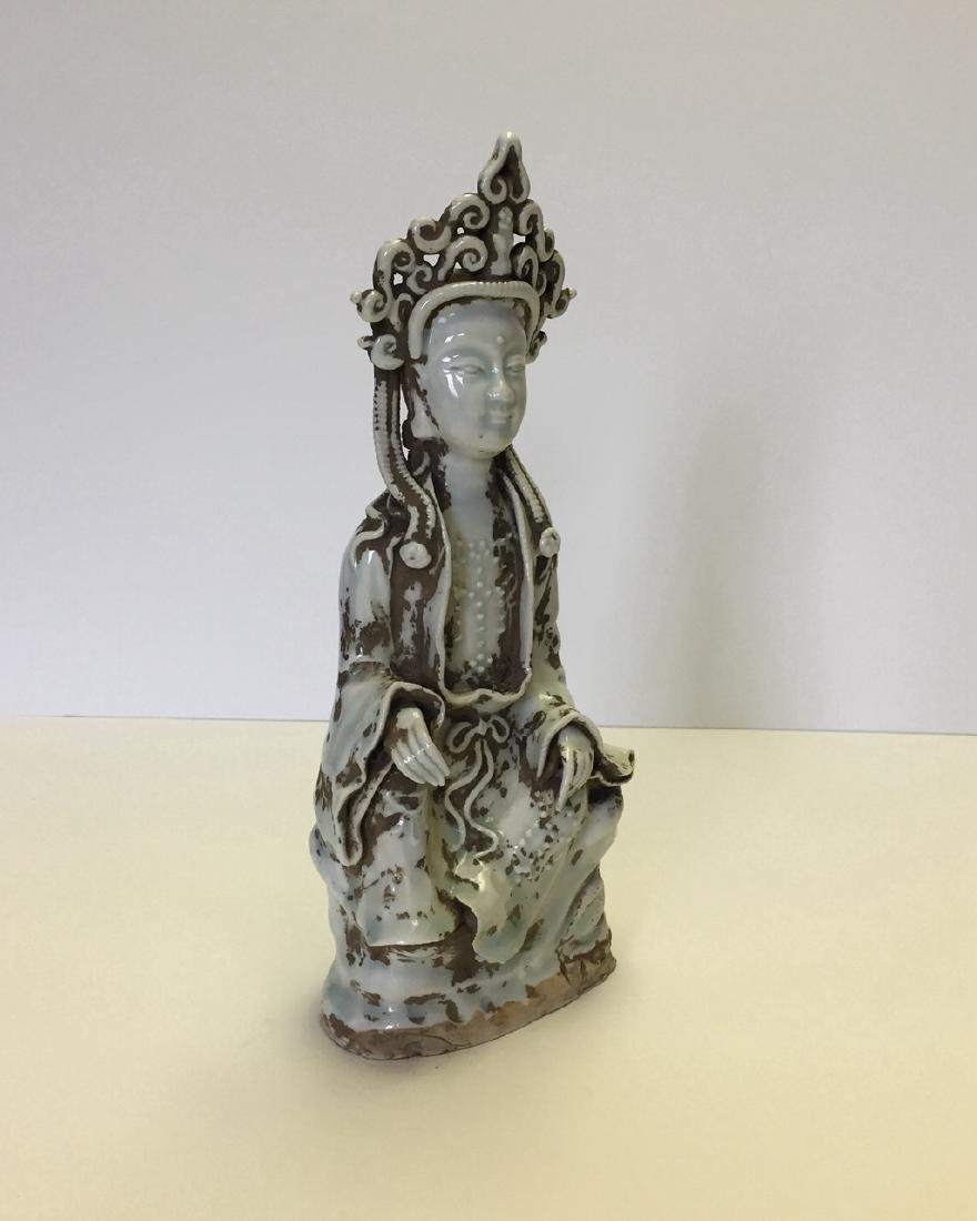 Chinese Carved Porcelain Qingbai Buddah Statue - 2