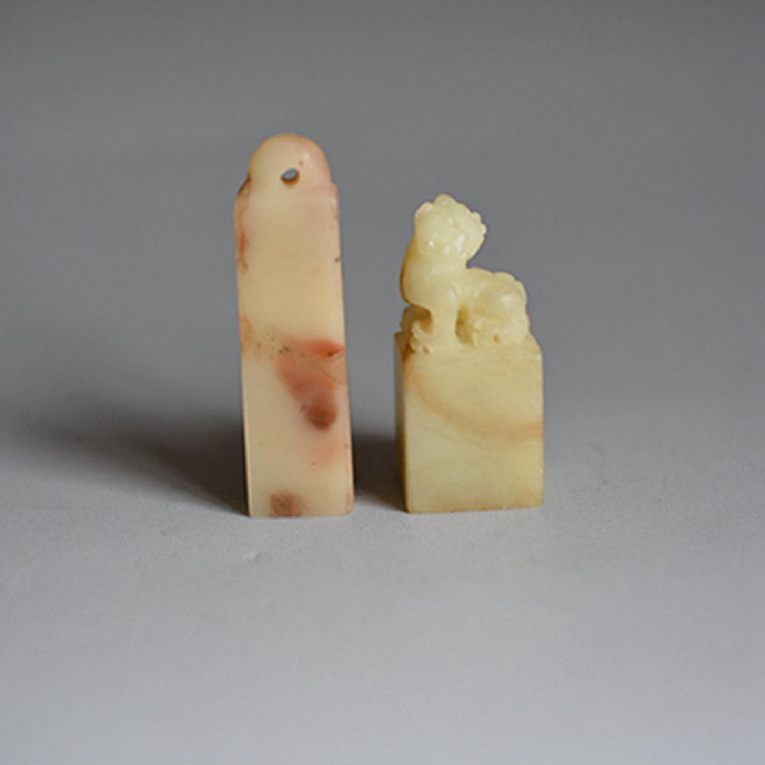2 Chinese Carved Shoushan Seal