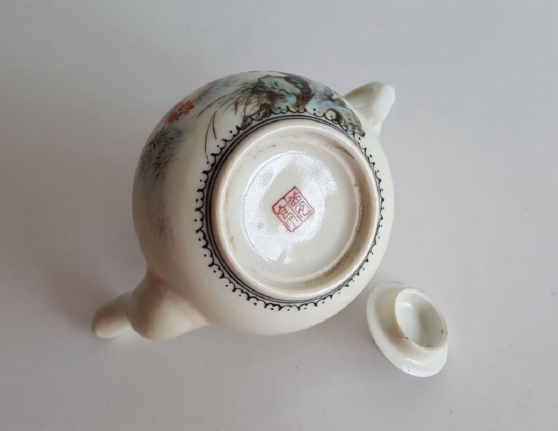 Chinese Famille Rose Porcelain Teapot - 7