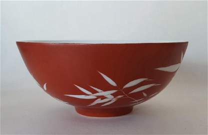 Chinese Red & White Porcelain Bowl