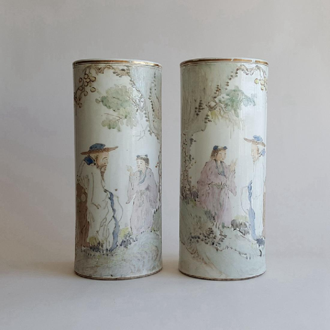 Pair Chinese Qiangjiang Color Porcelain Vases,Qing