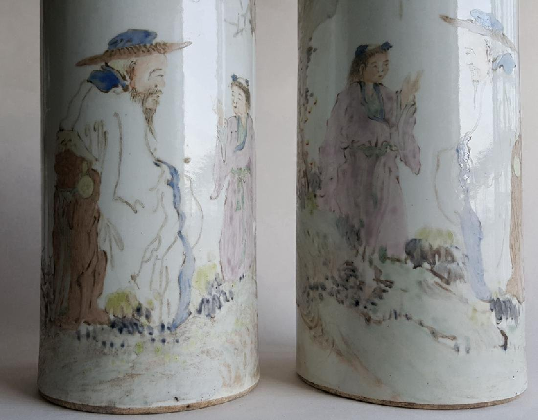 Pair Chinese Qiangjiang Color Porcelain Vases,Qing - 2