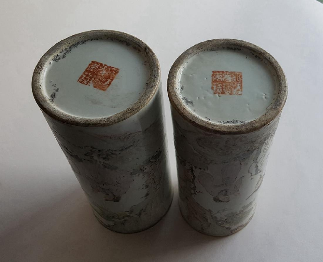 Pair Chinese Qiangjiang Color Porcelain Vases,Qing - 8