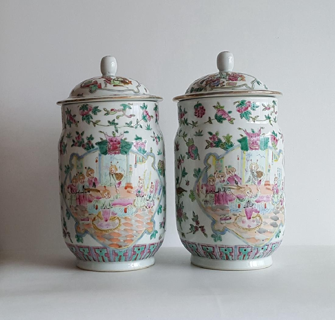 Pair Large Chinese Porcelain Vase