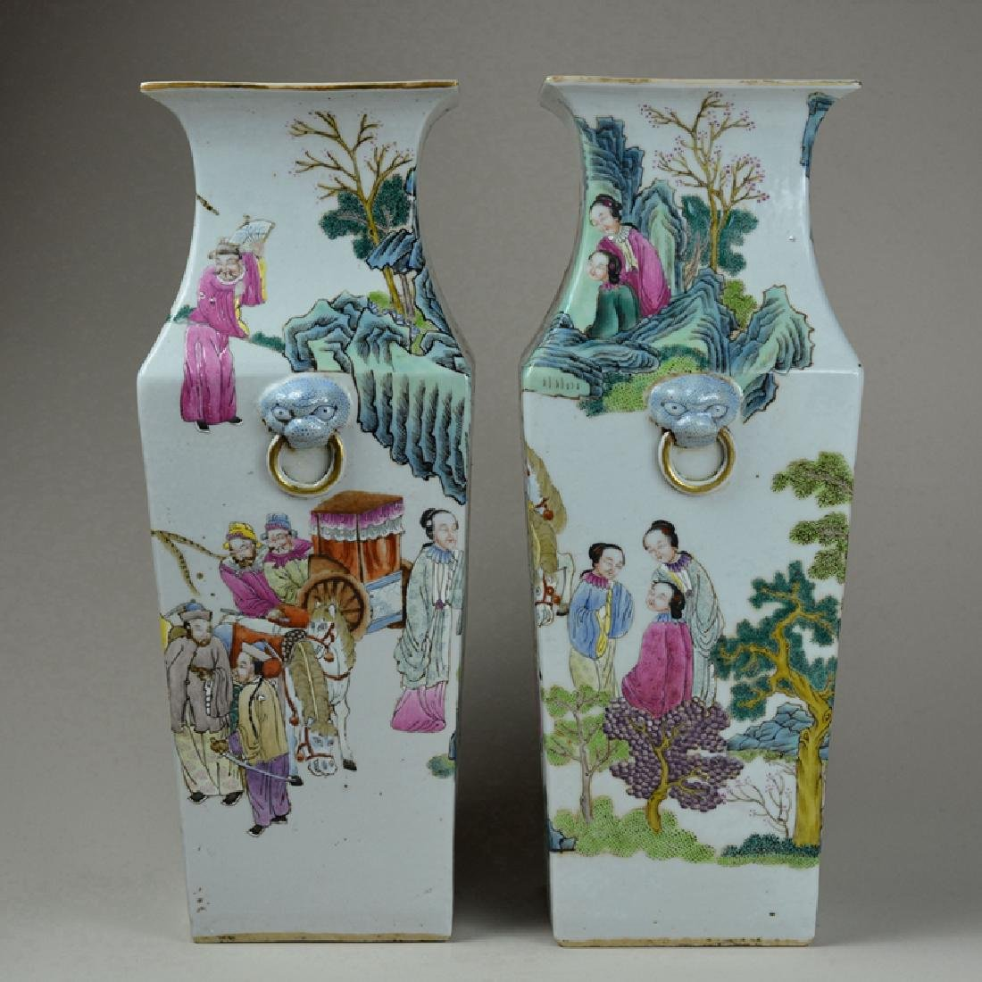 Pair Large Chinese Porcelain Famille Rose Vases - 3