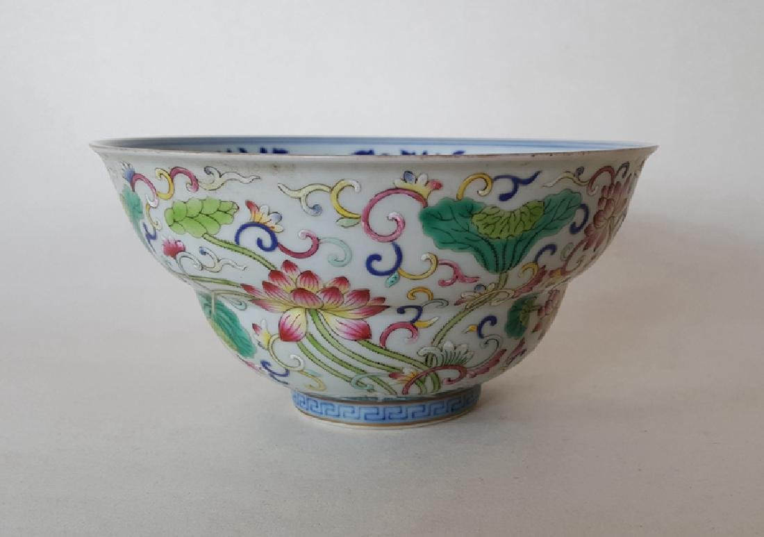 Chinese Famille Rose B/W Porcelain Bowl - 3