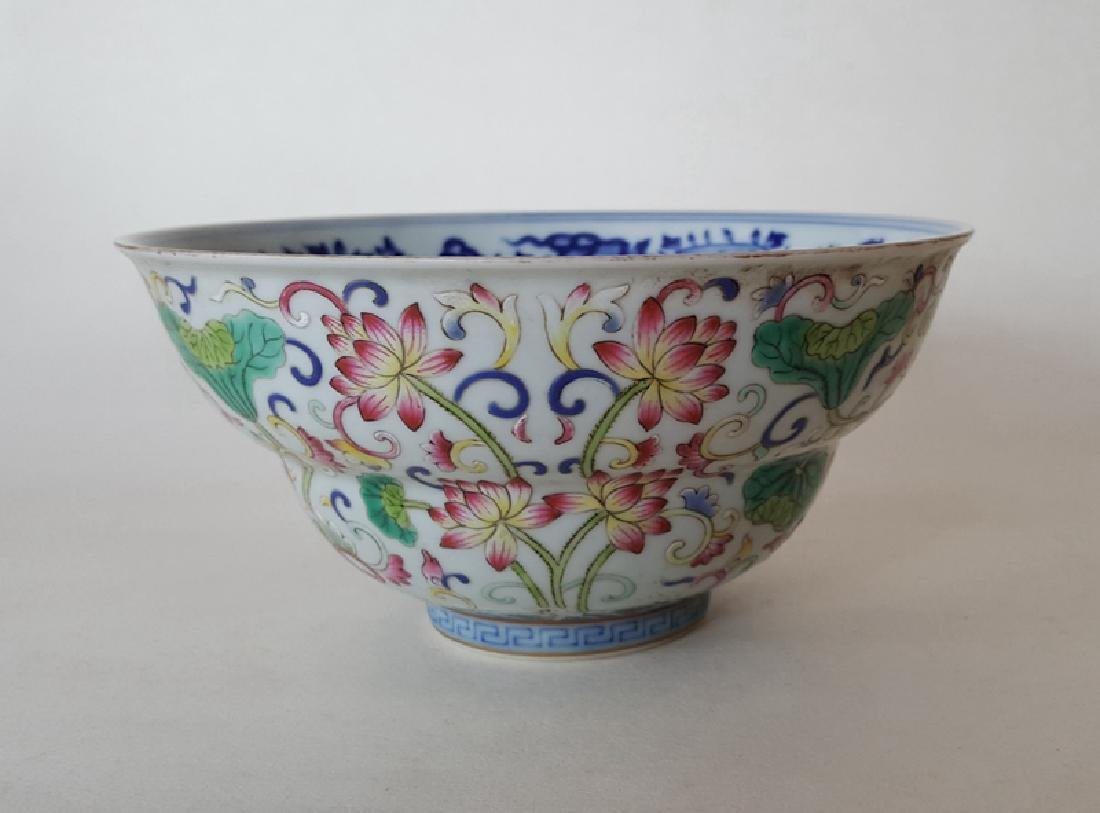 Chinese Famille Rose B/W Porcelain Bowl - 4