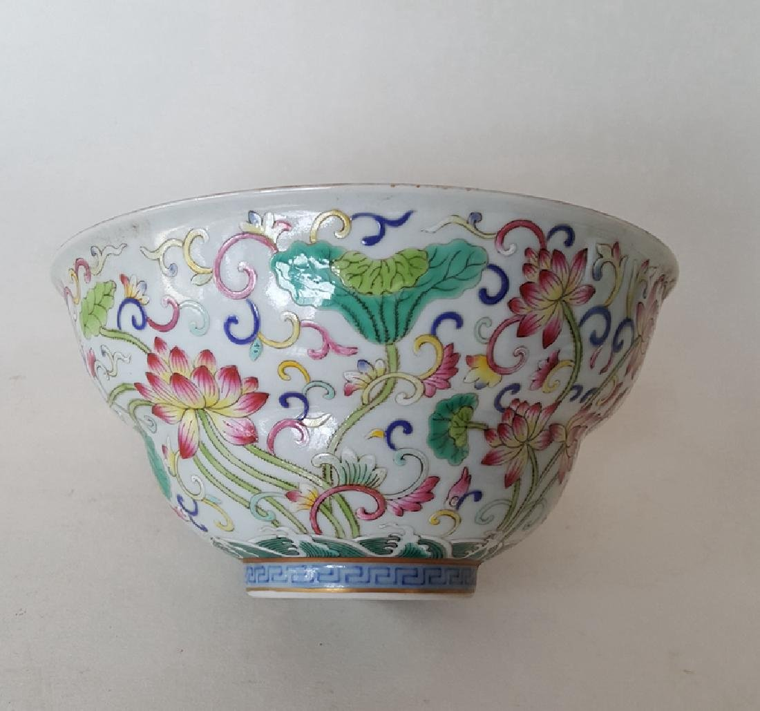 Chinese Famille Rose B/W Porcelain Bowl - 5