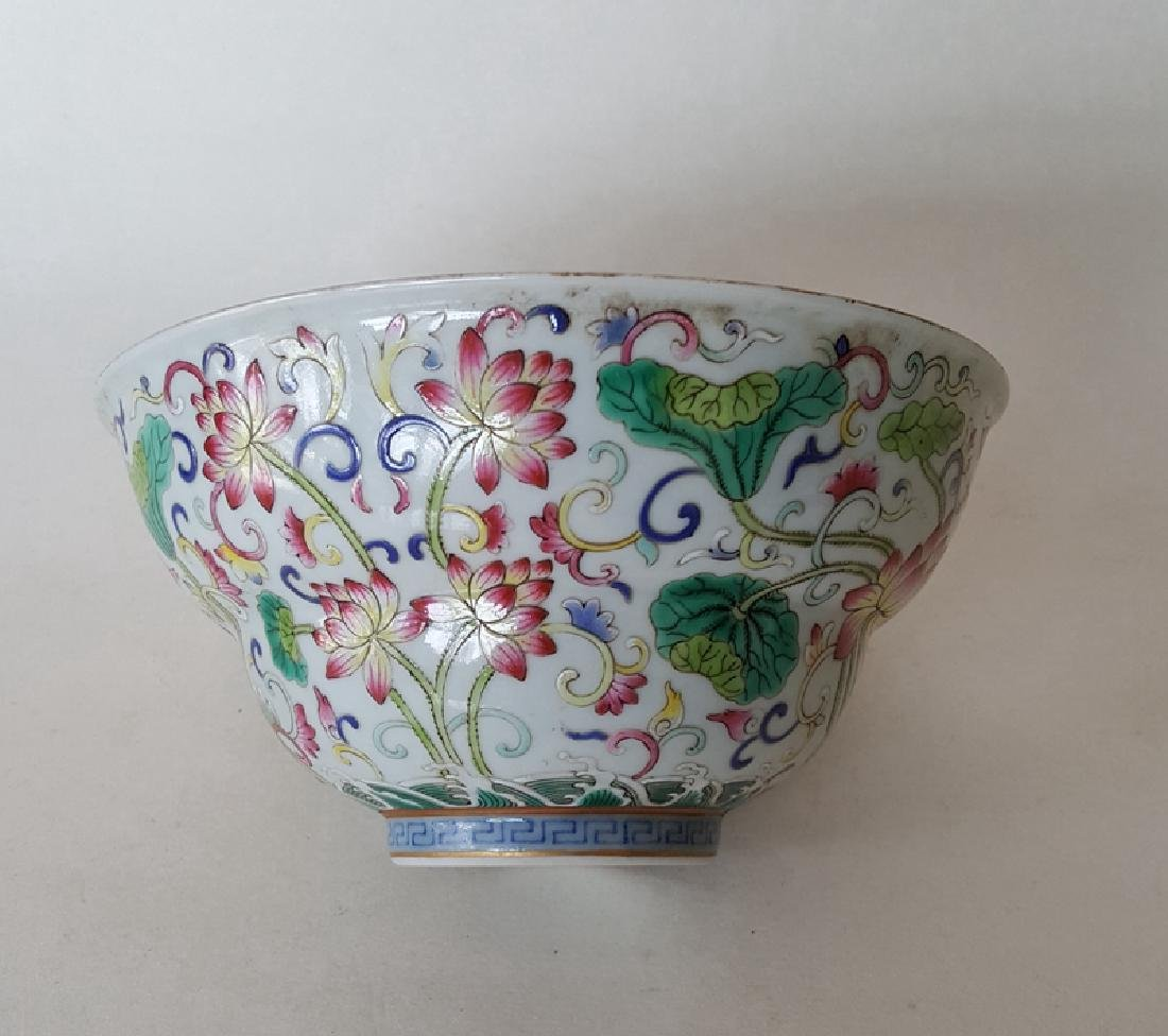 Chinese Famille Rose B/W Porcelain Bowl - 6