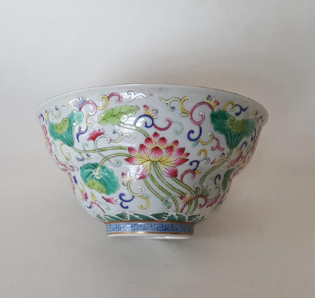 Chinese Famille Rose B/W Porcelain Bowl - 7