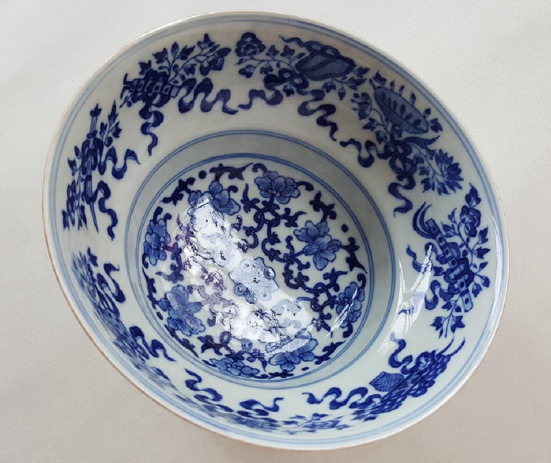 Chinese Famille Rose B/W Porcelain Bowl - 9