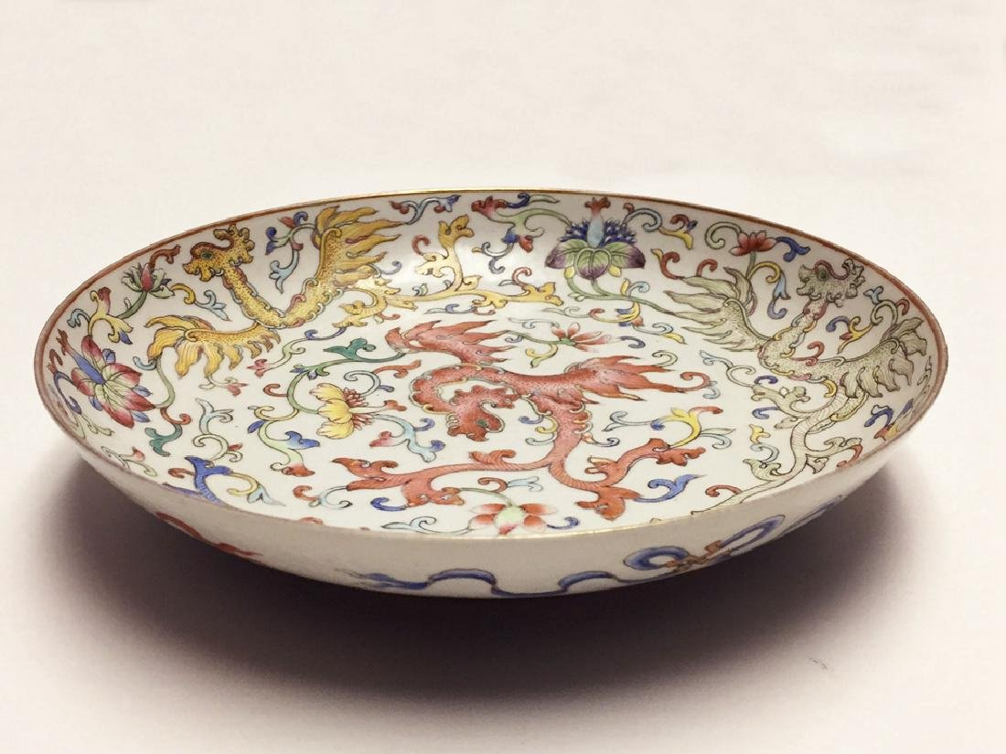 Chinese Famille Rose Porcelain Plate Guangxu Mark