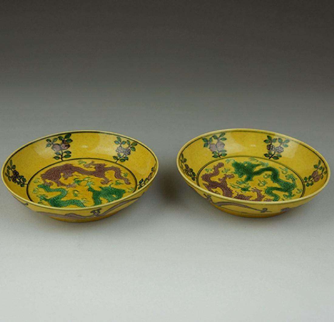Pair Chinese Porcelain Plates Guangxu Mark - 5