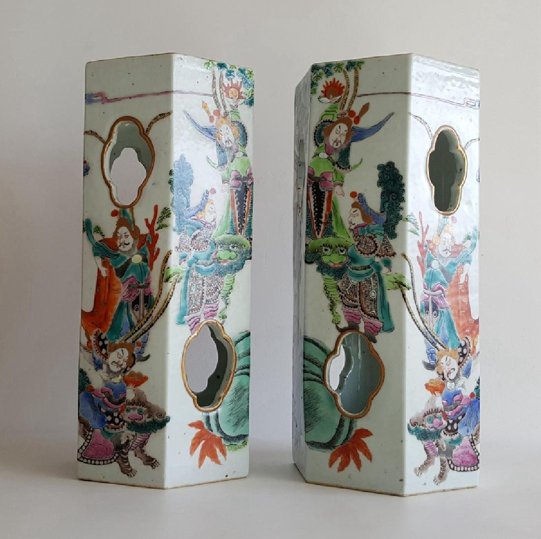 Pair Chinese Famille Rose Porcelain Hat Stands Vases - 3
