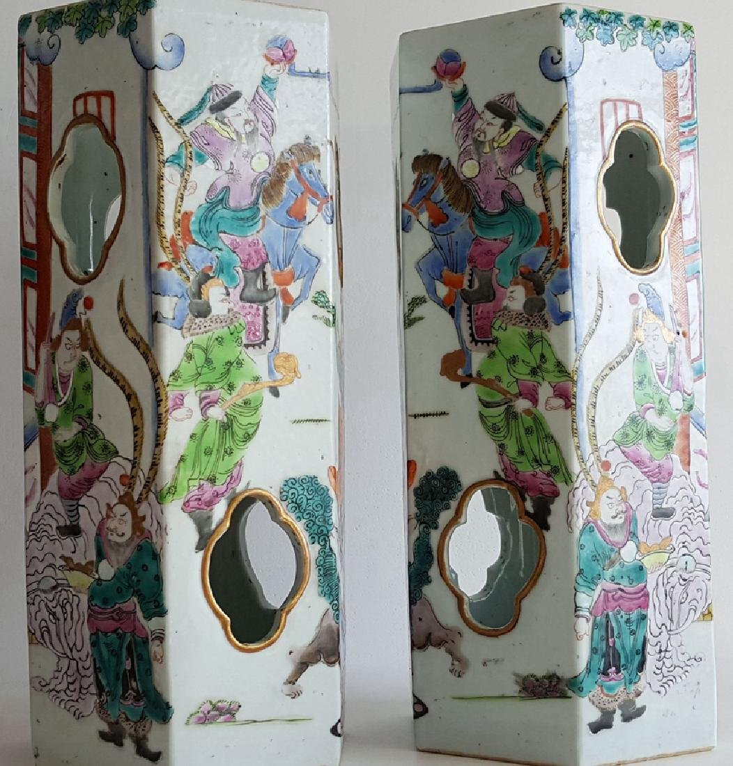 Pair Chinese Famille Rose Porcelain Hat Stands Vases - 5