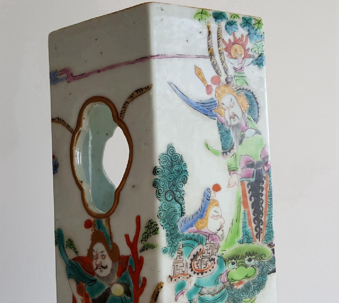 Pair Chinese Famille Rose Porcelain Hat Stands Vases - 6
