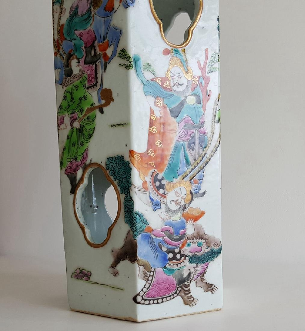 Pair Chinese Famille Rose Porcelain Hat Stands Vases - 7