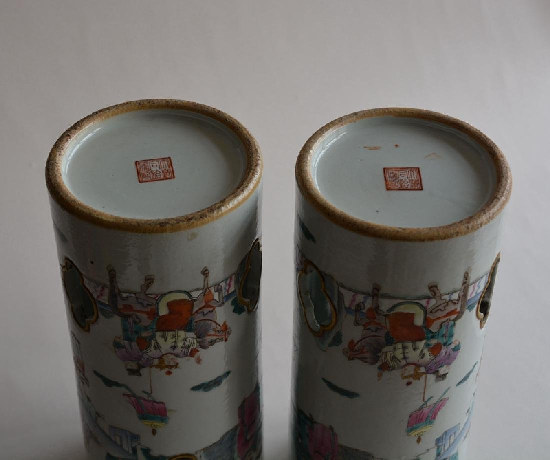 Pair Chinese famille rose porcelain hat stands vases - 10