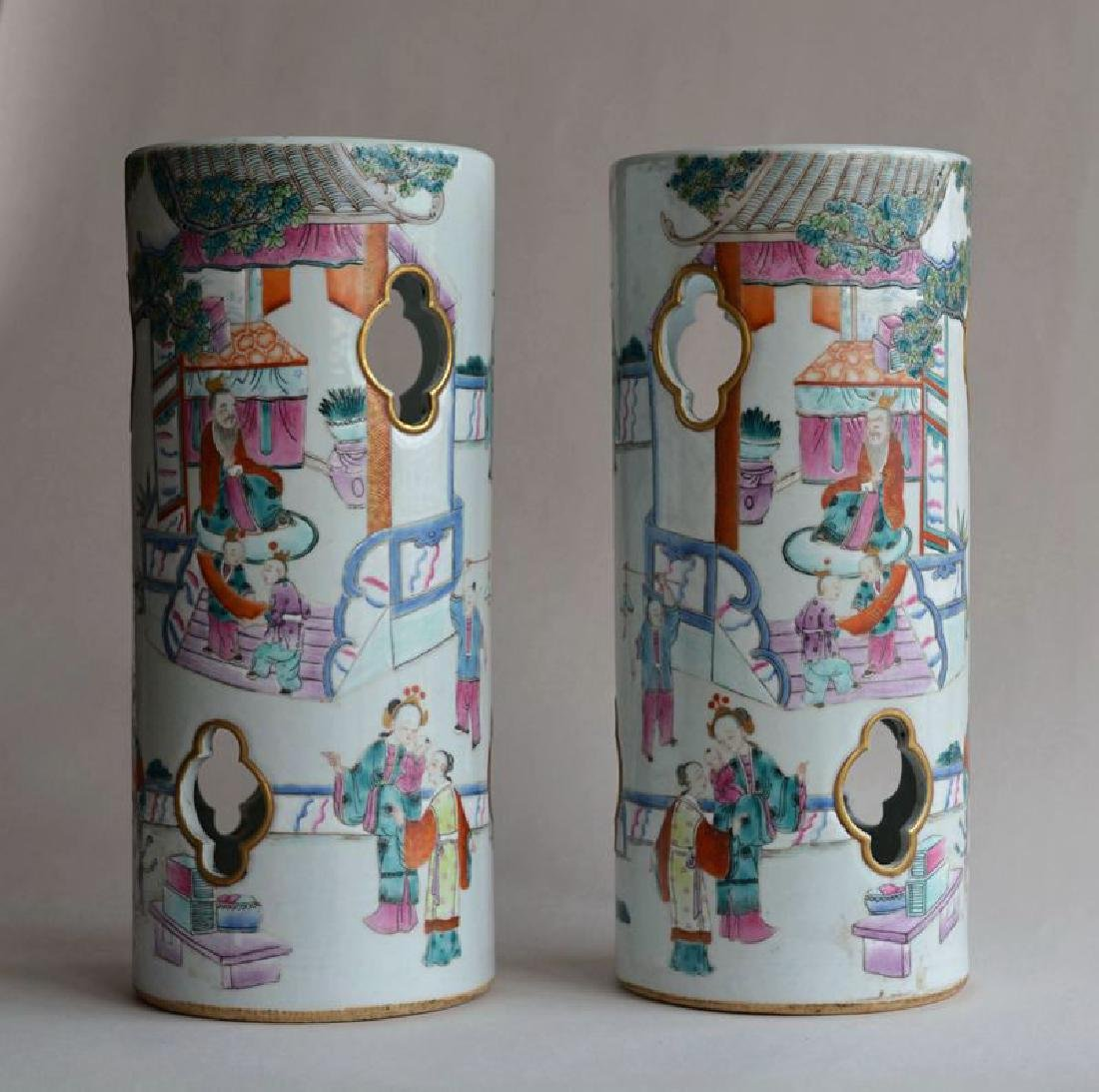 Pair Chinese famille rose porcelain hat stands vases