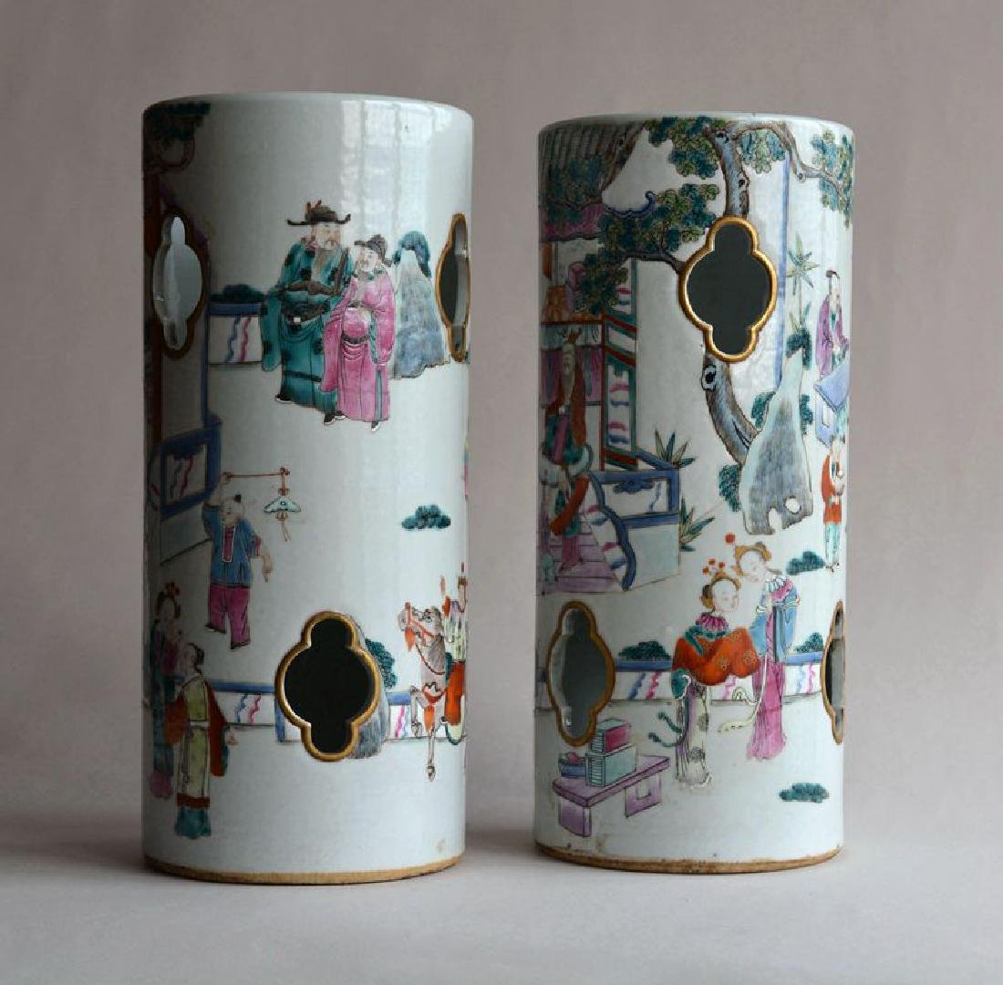 Pair Chinese famille rose porcelain hat stands vases - 2