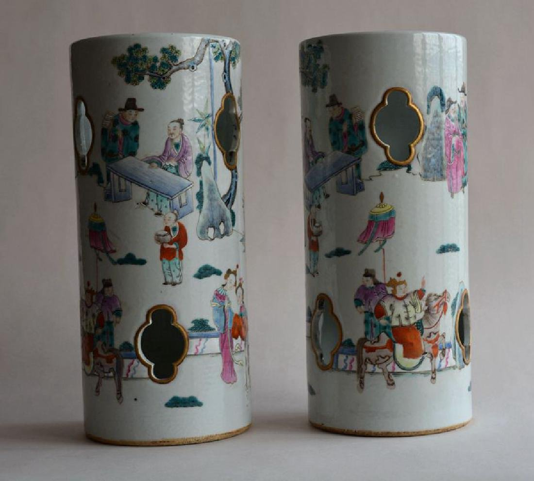 Pair Chinese famille rose porcelain hat stands vases - 4