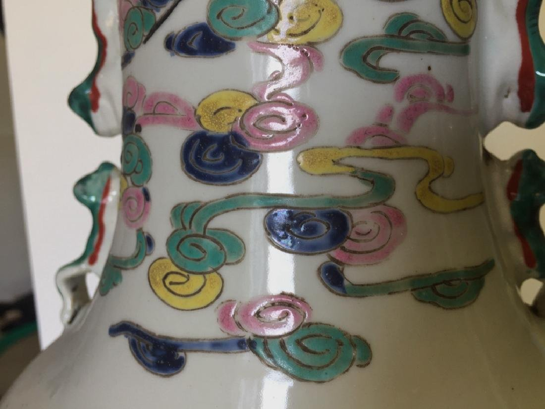 Pair Large Chinese Porcelain Famille Rose Vases - 6