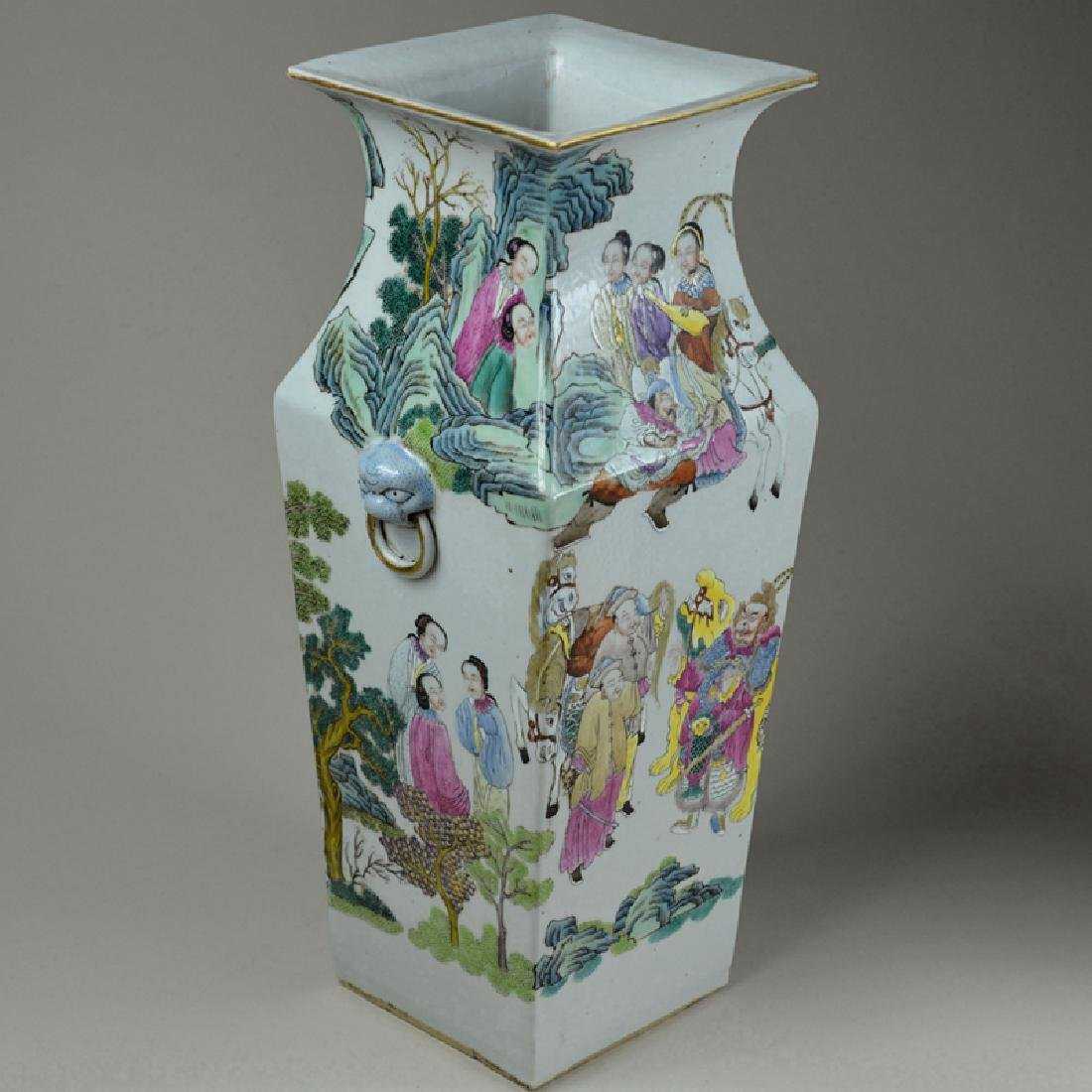 Pair Large Chinese Porcelain Famille Rose Vases - 5