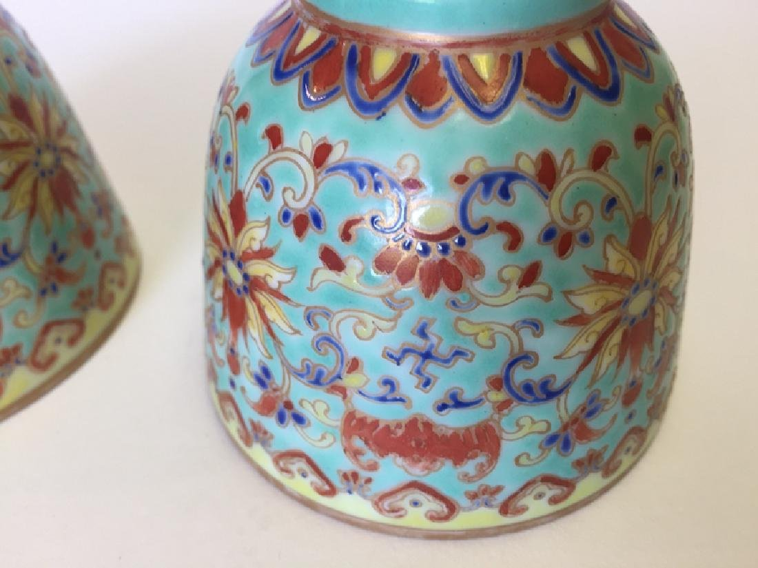 Pair Chinese Famille Rose Porcelain Cups - 5