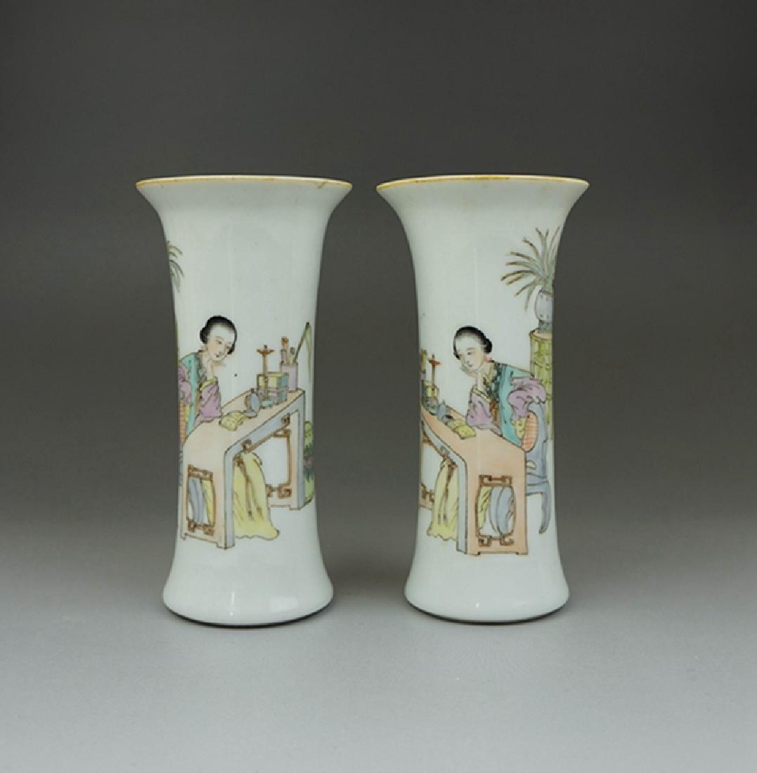 Pair Chinese Porcelain Famille Rose Vases Guangxu Mark