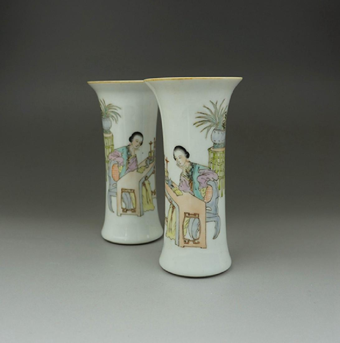 Pair Chinese Porcelain Famille Rose Vases Guangxu Mark - 2