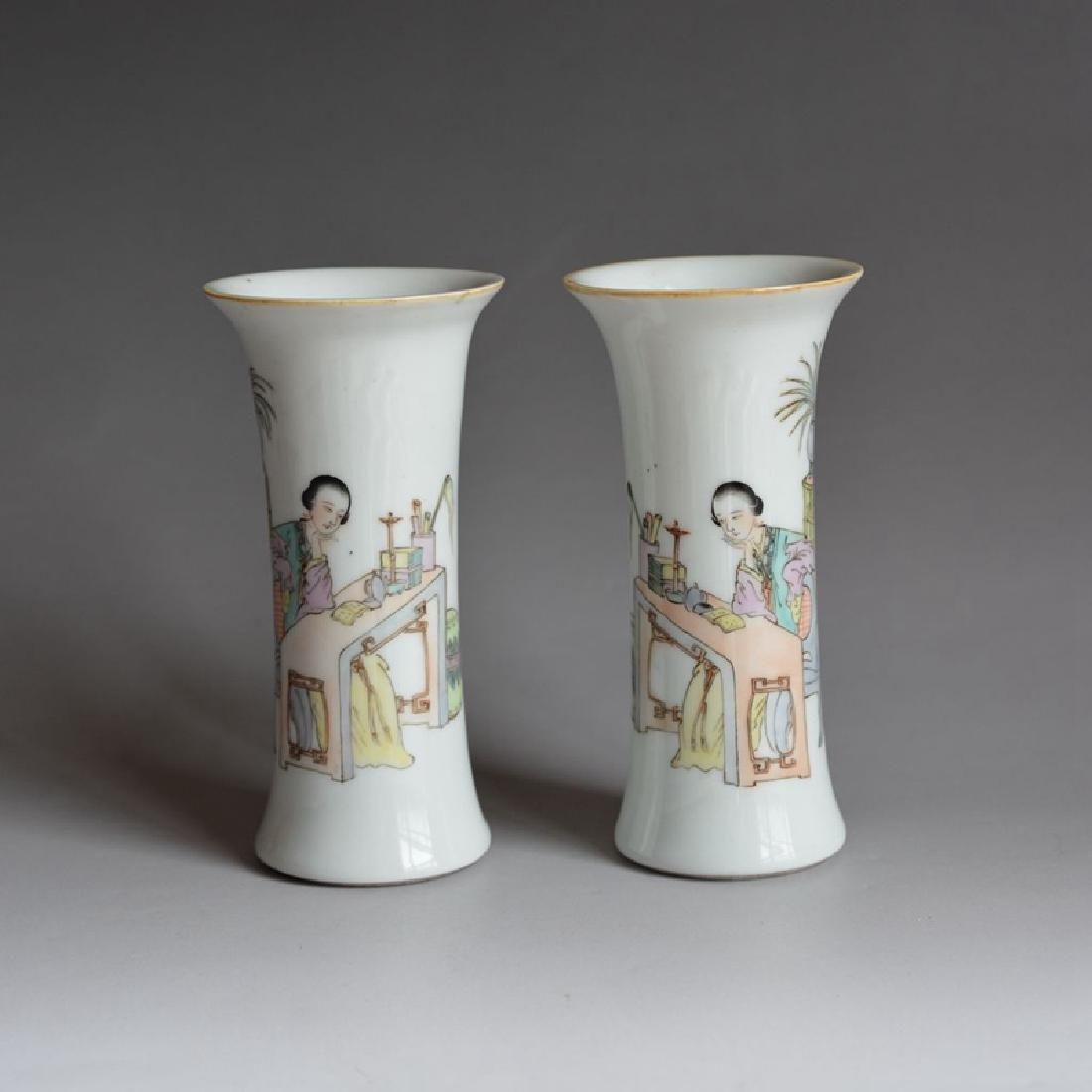 Pair Chinese Porcelain Famille Rose Vases Guangxu Mark - 8