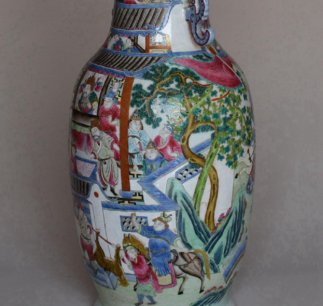 Pair Large Chinese Porcelain Famille Rose Vases - 7