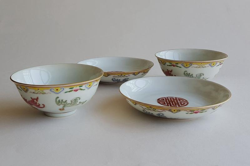 4 Chinese Famille Rose Porcelain Bowls And Plates