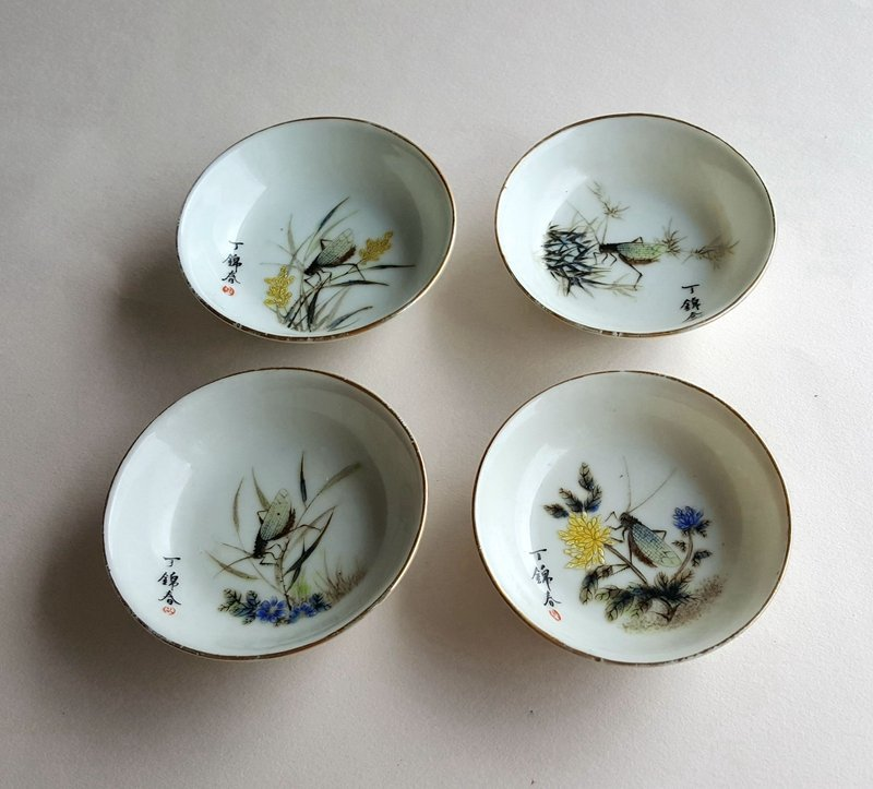4 Antique Chinese Famille Rose Porcelain Dishes