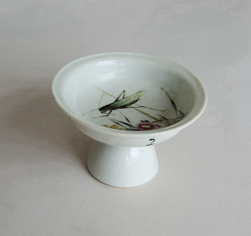 Antique Chinese Famille Rose Porcelain Height Bowl