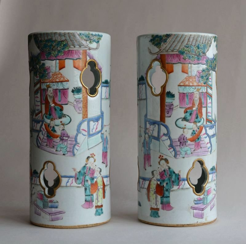 Pair Antique Chinese Famille Rose Porcelain Hat Stands